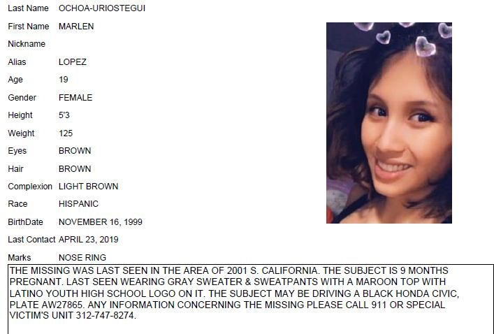 This undated Chicago Police missing person flier shows Marlen Ochoa-Lopez. Ochoa-Lopez, who had gone to a Chicago home in response to a Facebook offer of free baby clothes, was strangled and her baby cut from her womb, police and family members said.  (Chicago Police/Chicago Tribune via AP)