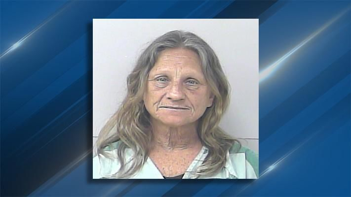 Driver told police he couldn't pull over after a red light violation because he was receiving a sex act from his female passenger. Rhonda Koppenhoefer, 51, is facing three felony drug charges as a result of the traffic stop. (St. Lucie County Sheriff's Office)