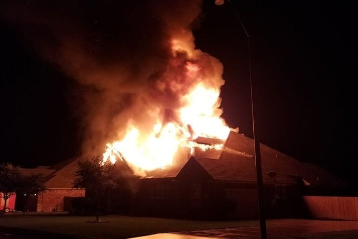 House fire in 3300 block of Harvest Hill Sunday night. (Courtesy photo)