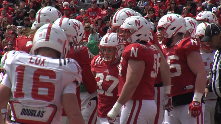 The Nebraska Cornhuskers celebrate a Wyatt Mazour (37) touchdown in the Red-White spring game. (KHGI)