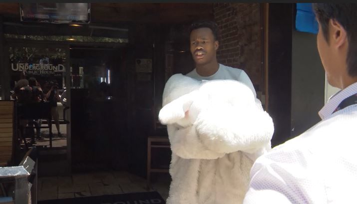 Fight involving a man in an Easter Bunny costume in Orlando goes viral. (CNN Newsource)
