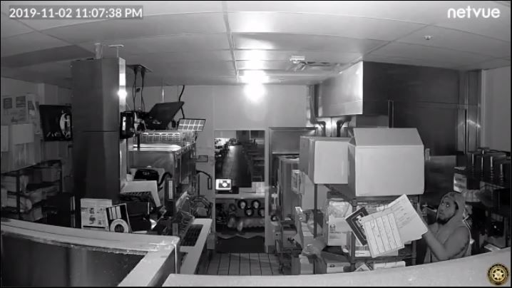 Man caught on camera stealing cash and taco shells from a Taco Bell at the Boynton Beach Mall. (Boynton Beach Police)