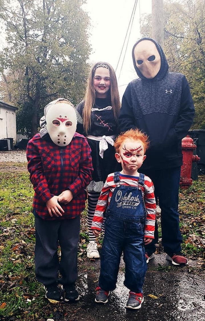 Fischer, Sailer, River (Jason), and Rowin (Chucky). The Blanks 2018 Trick or Treat! - Amanda Blank