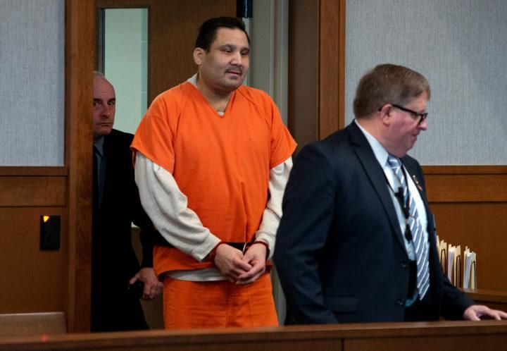 Julio Carrillo enters a courtroom at the Waldo Judicial Center in Belfast. (Linda Coan O'Kresik | BDN)
