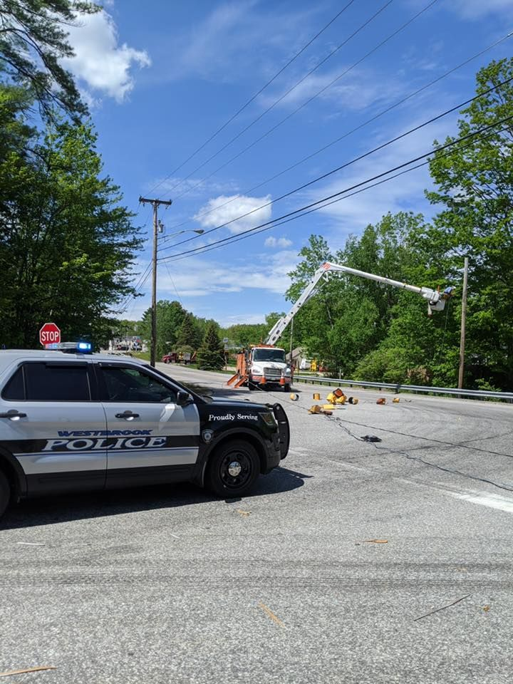 The Westbrook Fire Department says the intersection of Route 302 and Methodist Road was closed Thursday afternoon. (Westbrook Police Department)<p></p>