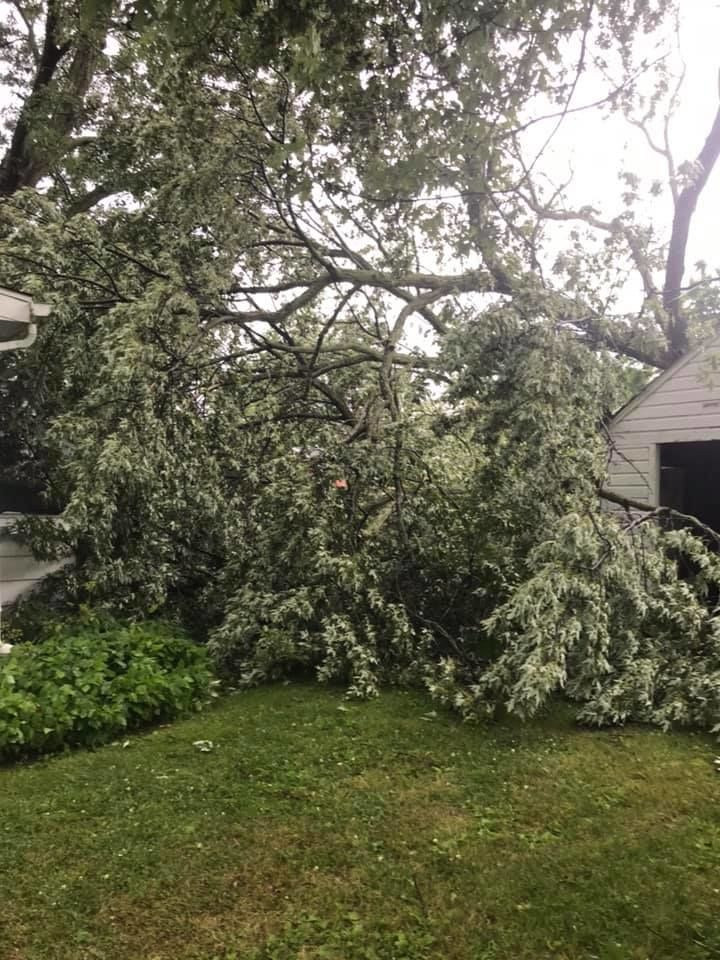 Storms cause extensive damage in New Lothrop. (Courtesy of Village of New Lothrop)