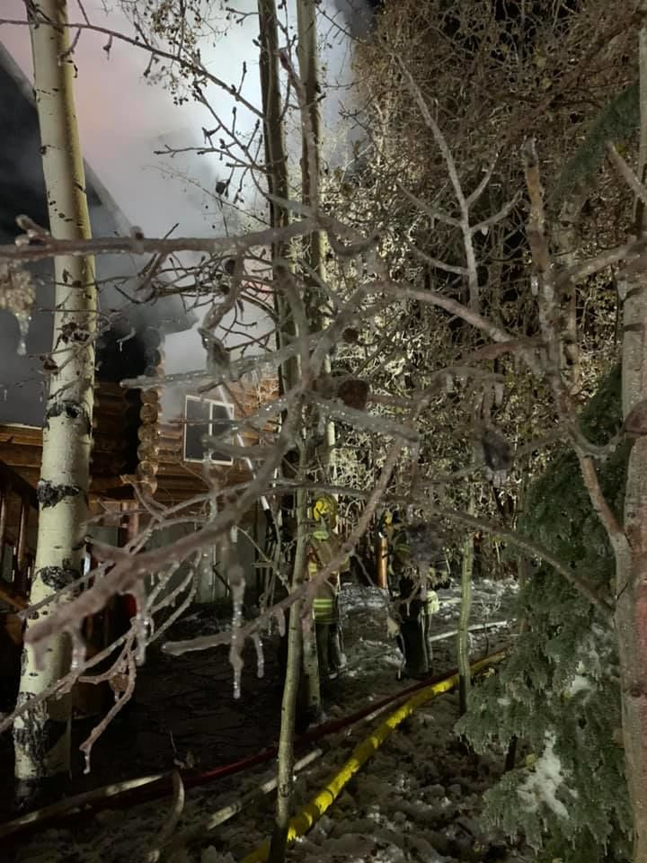 A cabin in Wasatch County was destroyed by a fire Sunday night. (Photo courtesy of Wasatch County Fire)