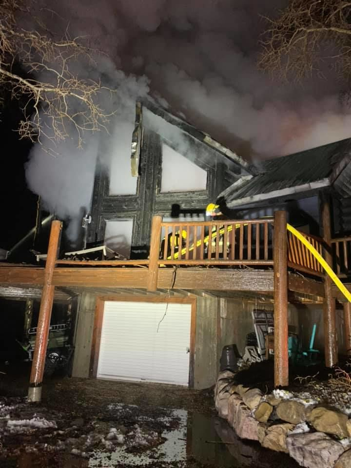 <p>A cabin in Wasatch County was destroyed by a fire Sunday night. (Photo courtesy of Wasatch County Fire){&nbsp;}</p>
