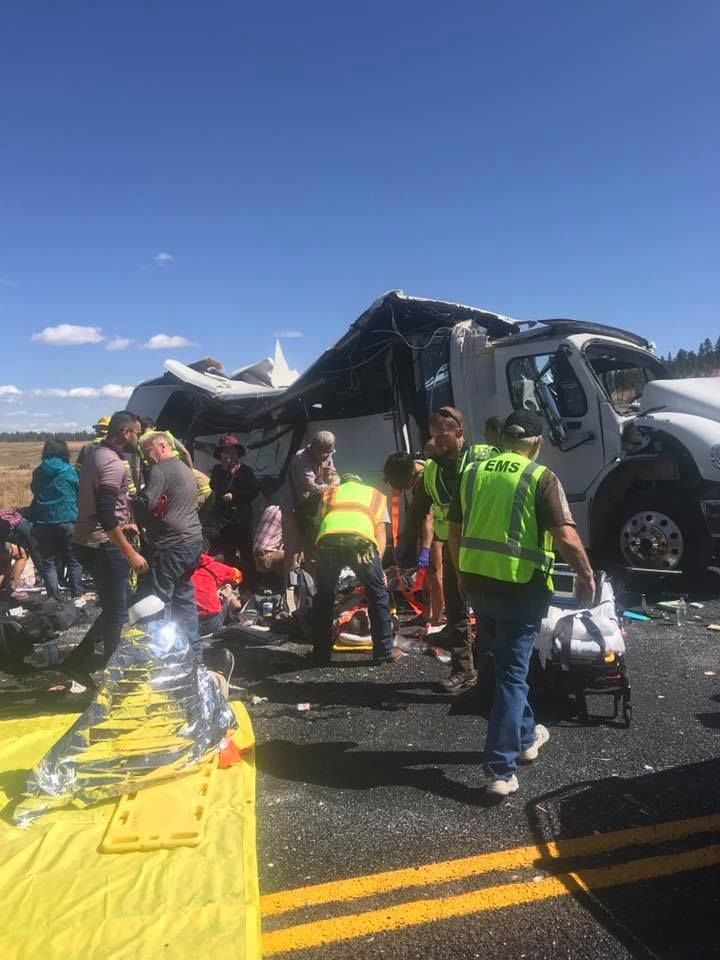 Four people are dead and 30 are injured after a tour bus crashed near Bryce Canyon Friday, according to the Garfield County Sheriff's Office. (Photo: Garfield County Sheriff's Office){&nbsp;}<p></p>