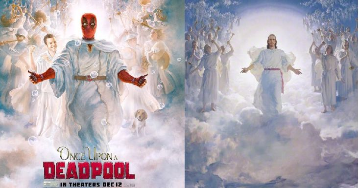 New Deadpool poster resembles LDS-commissioned painting of Jesus Christ (20th Century Fox, LDS Church)
