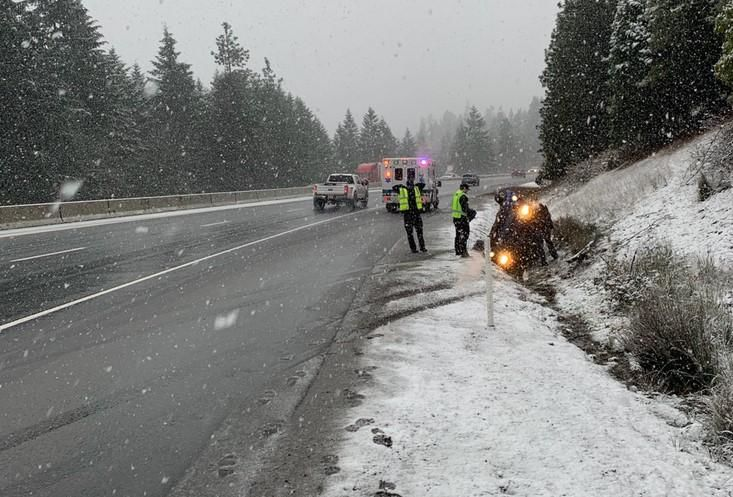 A car went off Interstate 5 at MP 78 in southwest Oregon. (ODOT)