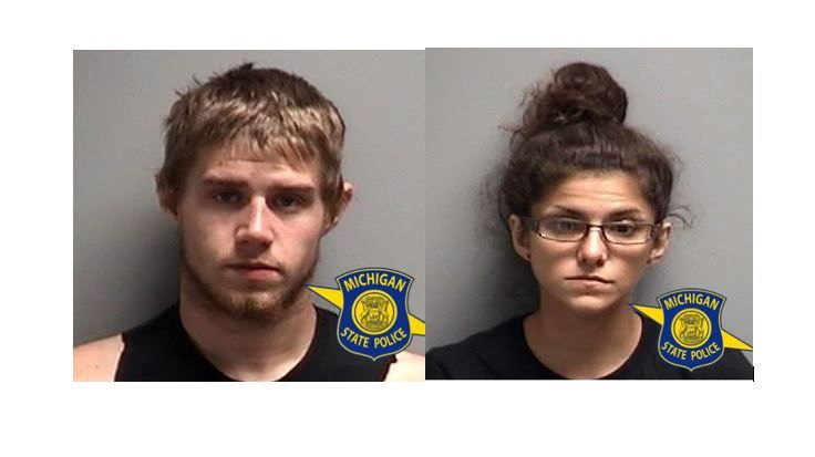 Travis Bouma (left) and Amber Glendenning (right) are charged with possession of meth after they were found passed out in their car in Mesick. (Michigan State Police)<p></p>