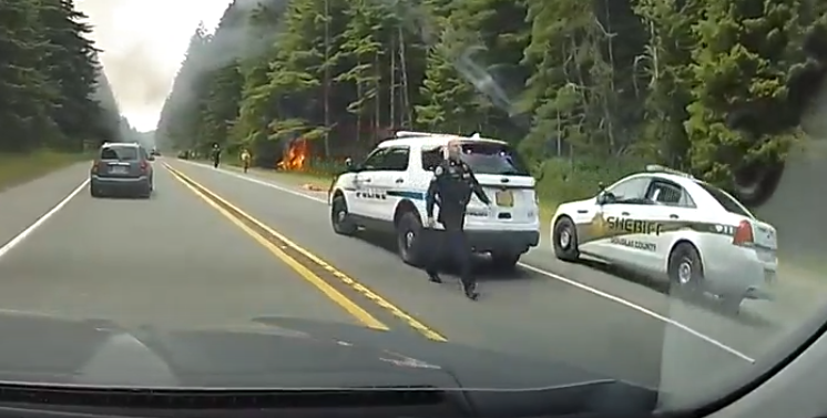 One person is dead after a fiery car crash on Oregon Highway 101 between Lakeside and Winchester Bay. (Still from video from Michael Boehme via CHIME IN)