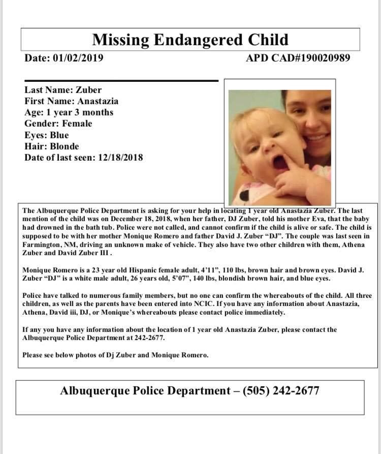 Missing, endangered poster for Anastazia Romero. (Albuquerque Police)