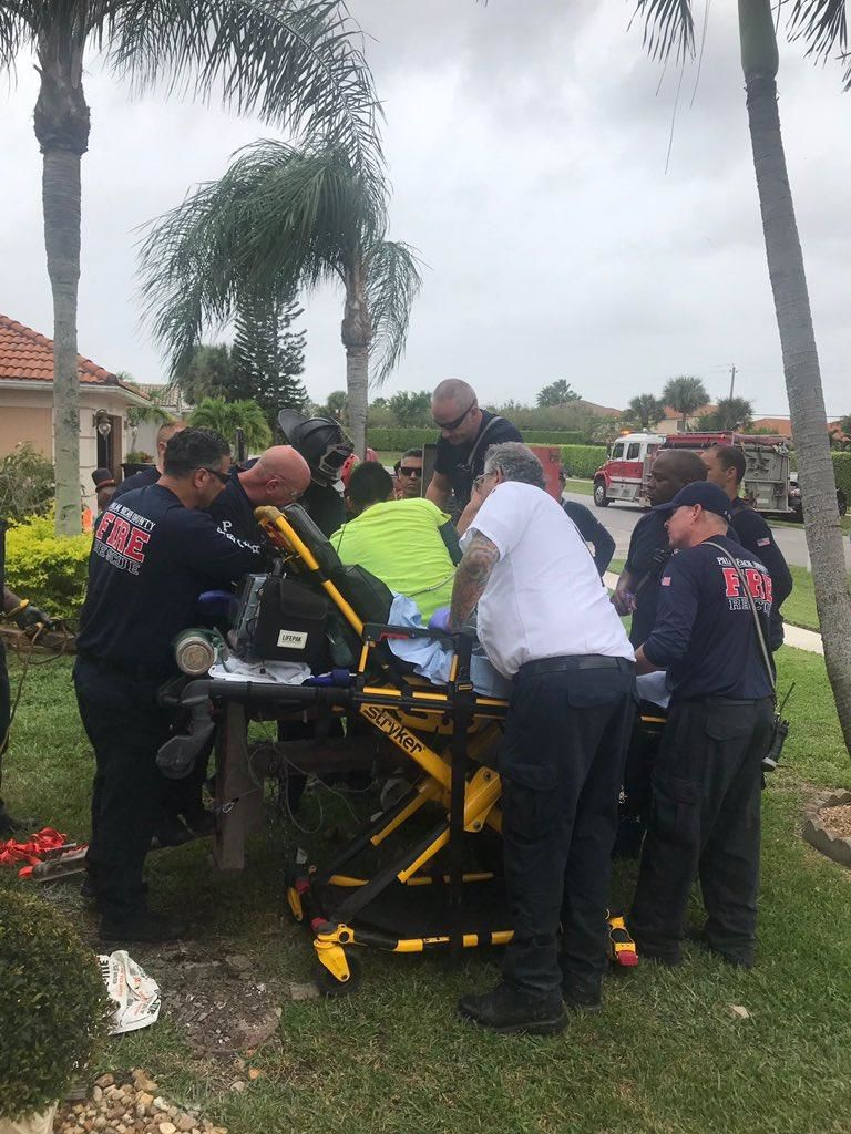 Firefighters had to rescue a man inside of a cement mixer. (Palm Beach County Fire Rescue)