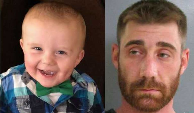 Baby shot in the face, allegedly by his father, Michael Glance. (Undated photo: AP)