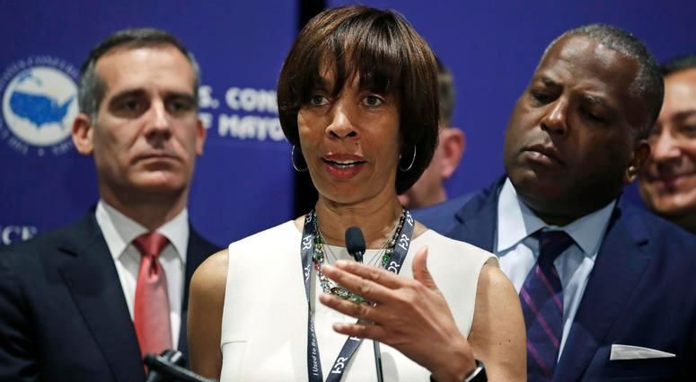 FILE - In this June 8, 2018 file photo, Baltimore Mayor Catherine Pugh addresses a gathering during the annual meeting of the U.S. Conference of Mayors in Boston. (AP Photo/Charles Krupa, File)