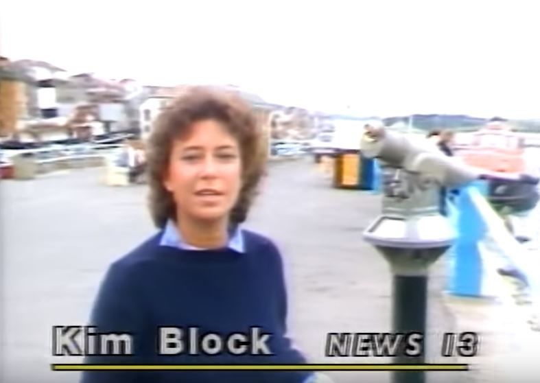 Kim Block reporting in 1982 (WGME)