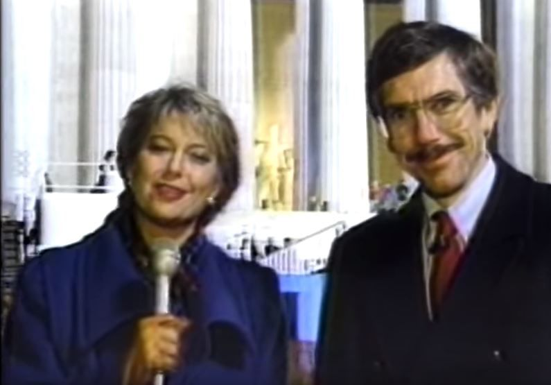 Kim Block covering President George HW Bush's inauguration in 1989 (WGME)