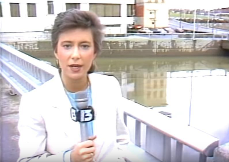 Kim Block reporting in Bangor in 1984 (WGME)