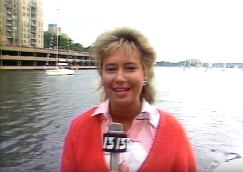 Kim Block reporting from New York City in 1984{ }(WGME)