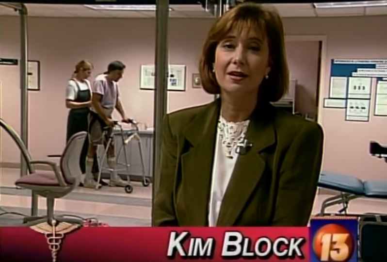 Kim Block reporting from Miami in 1996 (WGME)