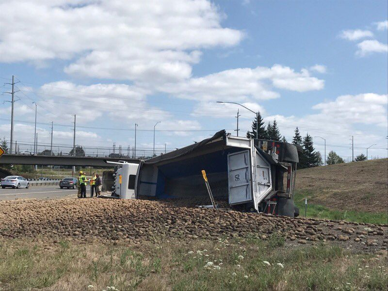 A crashed semi-truck spilled potatoes across a Highway 26 on-ramp in Hillsboro on Aug. 16, 2019. Photo courtesy Hillsboro Police Department