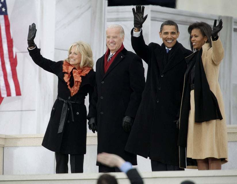 President-elect Barack Obama, his wife Michelle Obama, and Vice President-elect Joe Biden and his wife Jill Biden wave during 'We Are One: Opening Inaugural Celebration at the Lincoln Memorial' in Washington, Sunday, Jan. 18, 2009. - AP Photo/Carolyn Kaster