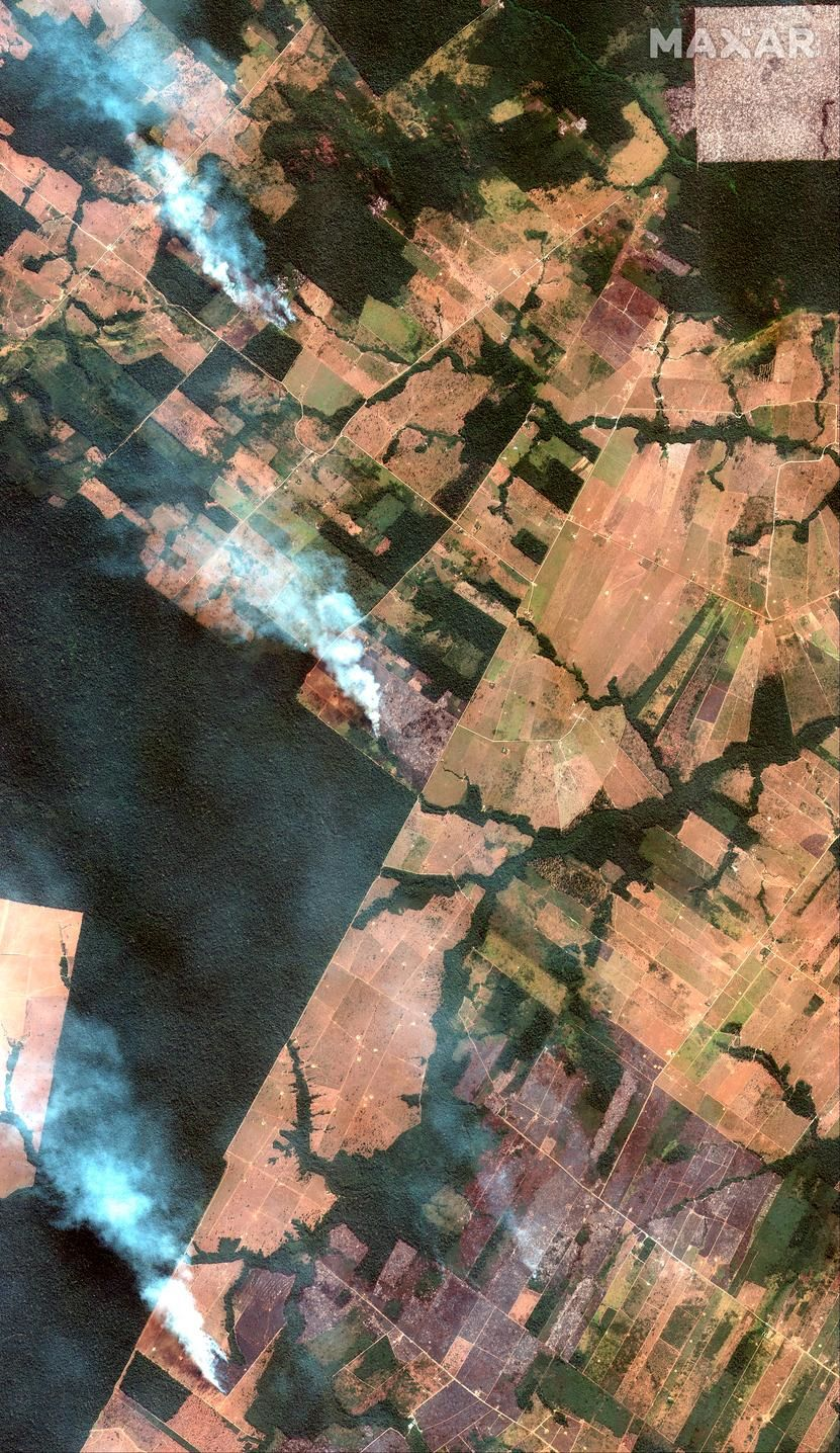 This Aug. 15, 2019 satellite image from Maxar Technologies shows overview of fires southwest of Porto Velho,  Brazil.  Brazil's National Institute for Space Research, a federal agency monitoring deforestation and wildfires, said the country has seen a record number of wildfires this year as of Tuesday, Aug. 20.   (Satellite image ©2019 Maxar Technologies via AP)