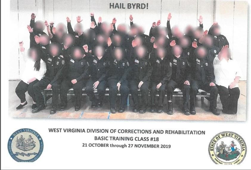 Photo of a basic training class at the Division of Corrections and Rehabilitation shows participants doing a Nazi salute. (Photo: West Virginia Governor's Office)