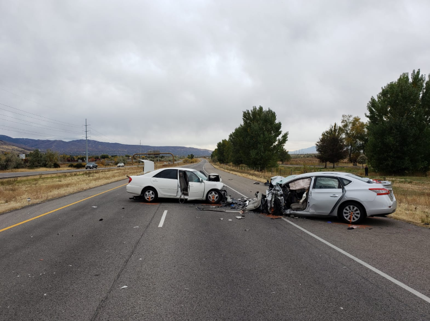Two people died in a head-on collision on Legacy Parkway in Davis County on Saturday. (Photo: Utah Highway Patrol)