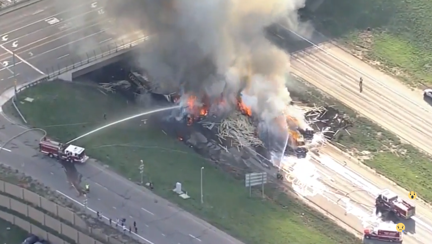 Several vehicles, semis on fire shut down I-70 in Colorado. (CBS)