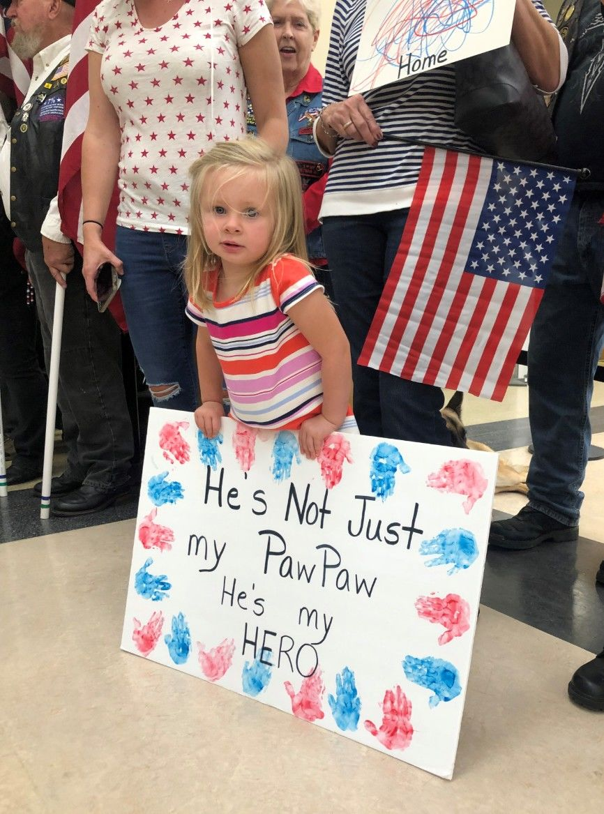 We're told there was a hero's welcome for returning vets at the Asheville Regional Airport. Photo credit: Hannah Watts