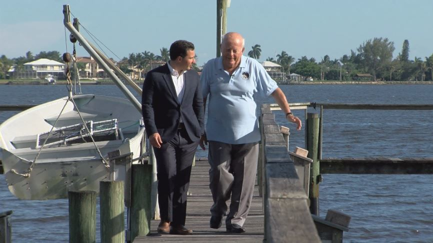 Former Apollo program engineer Peter Meier and Jay O'Brien at his home in Stuart. (WPEC)
