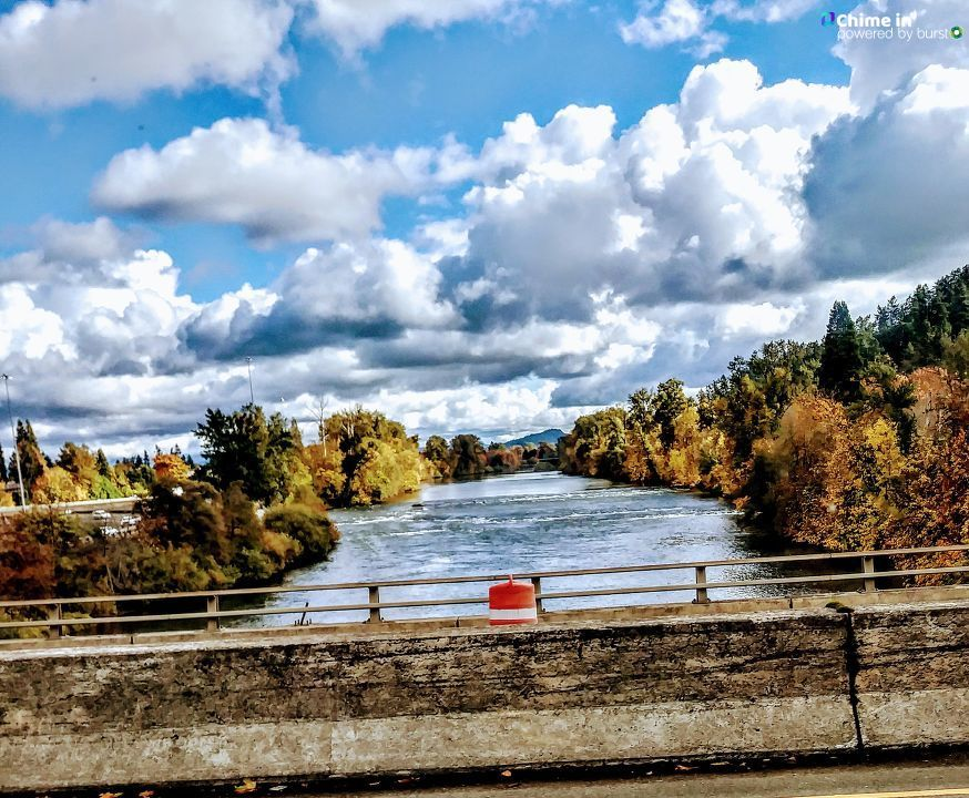 Glenna Ruth Barbour shared this photo of the Willamette River from the Washington Street Bridge in Eugene via the CHIME IN tab on our website.