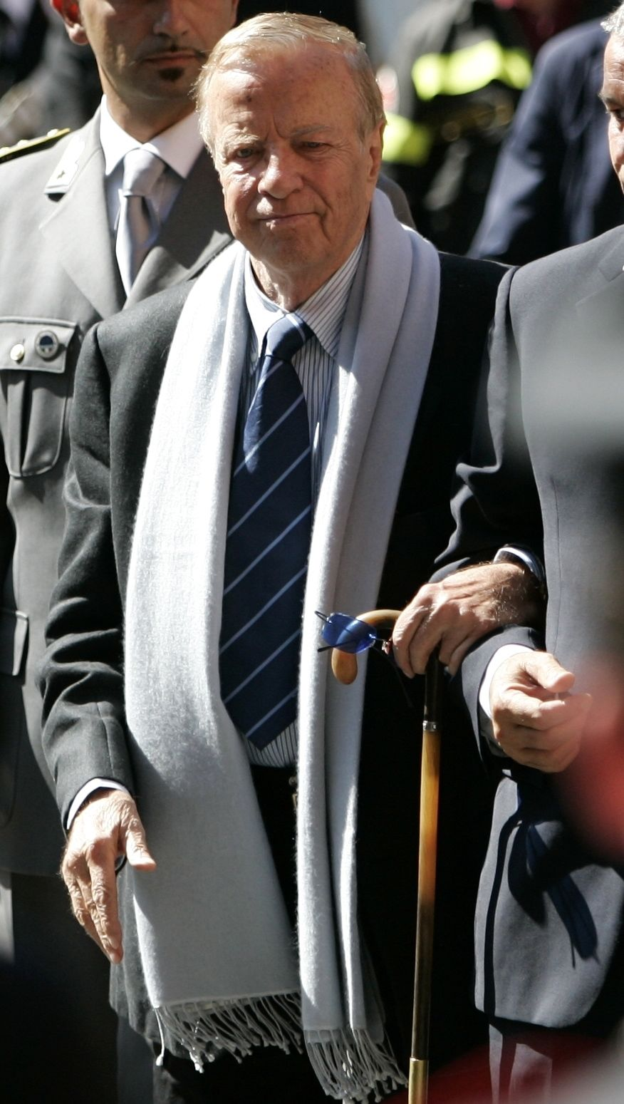 FILE - In this Saturday, Sept. 8, 2007 file photo, Italian movie director Franco Zeffirelli arrives at the funeral service of late Italian tenor Luciano Pavarotti in Modena's Duomo Cathedral, Modena, Italy. (AP Photo/Gregorio Borgia, File)