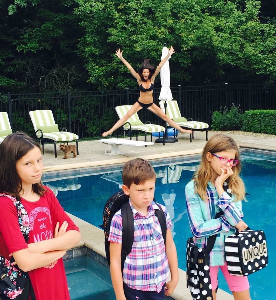 <p>One mom in Central Ohio is getting national recognition for her hilarious back to school photos that show her celebrating the new school year. (Courtesy: Leslie Kemelgor){&nbsp;}<br></p>