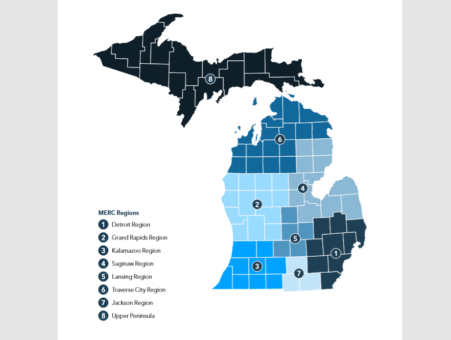 Gov. Gretchen Whitmer outlined the Michigan Economic Recovery Council Reporting Regions, as a part of her MI Safe Start plan. (WWMT/Gov. Whitmer's Office)