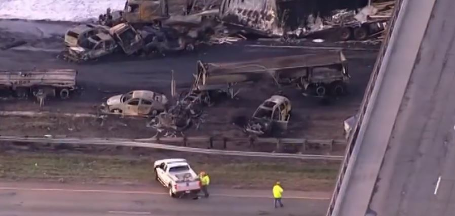 A truck driver accused of causing a deadly crash in Colorado on Interstate 70 will soon stand trial. (Photo screengrab from CBS video)