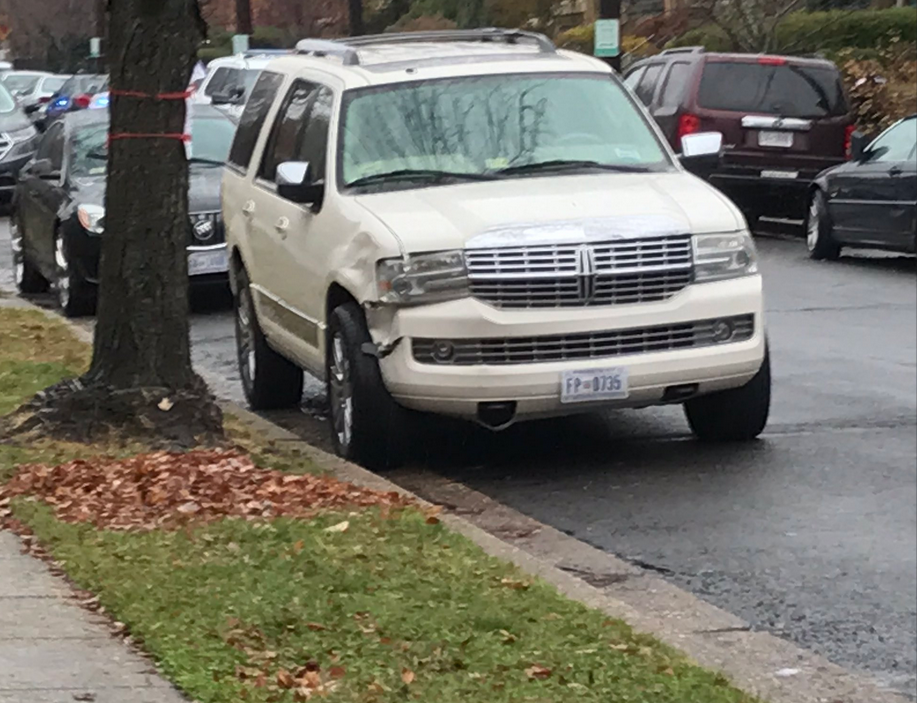 Photo of suspect's SUV that struck female security guard twice Tuesday morning according to police. Investigators say a man came to the Bascilica and rammed a female security guard with his car. When a male security guard attempted to intervene, stabbed the man, got back in the car, struck the woman again. Tuesday, Dec. 10, 2019. (Sam Ford/ABC7){&nbsp;}<p></p>