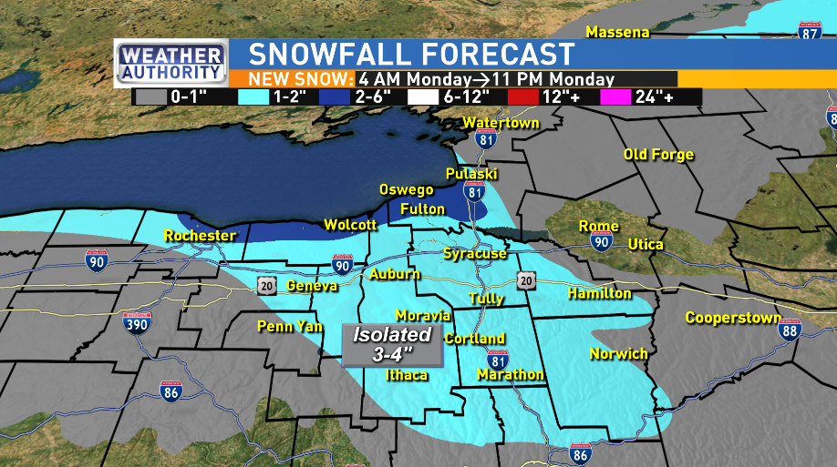 NEW SNOW BETWEEN 4 AM AND 11 PM MONDAY FOR MUCH OF UPSTATE NY