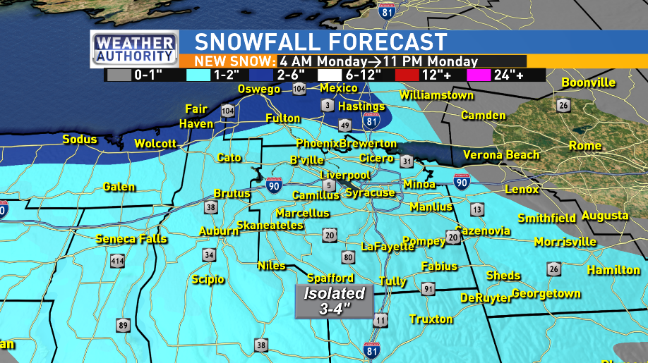 NEW SNOW BETWEEN 4 AM AND 11 PM MONDAY ZOOMED INTO CNY<p></p>