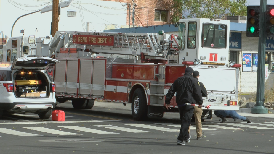 Washoe County Sheriff's Office investigating a fatal pedestrian crash involving a Reno Fire Department vehicle on 4th Street.