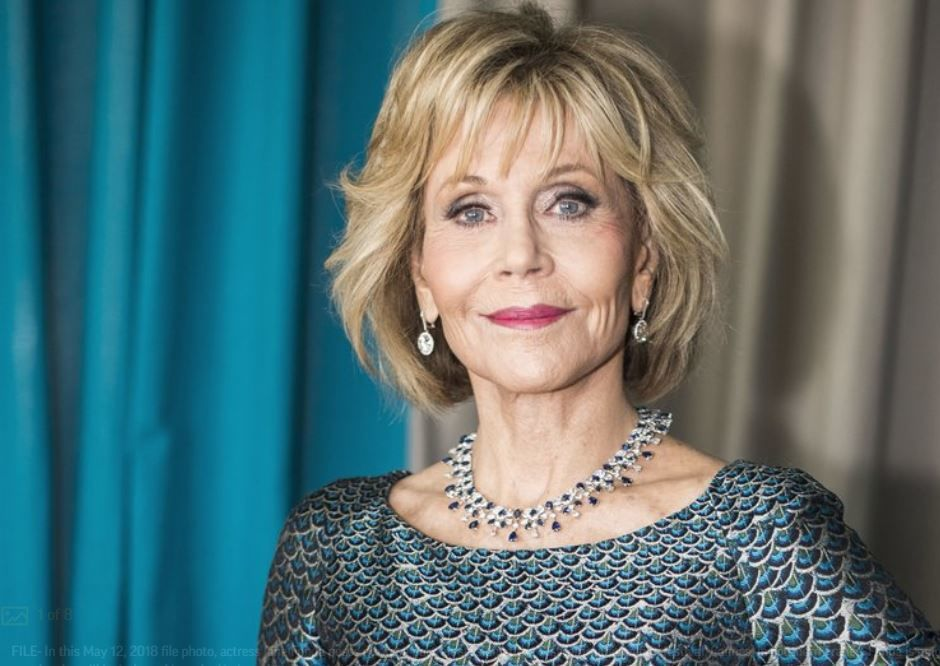 FILE- In this May 12, 2018 file photo, actress Jane Fonda poses during a portrait session at the 71st international film festival, Cannes, in southern France. Fonda is among 10 people who will be inducted into the National Women's Hall of Fame during a ceremony on Saturday, Sept. 14, 2019. (Photo by Arthur Mola/Invision/AP, File)