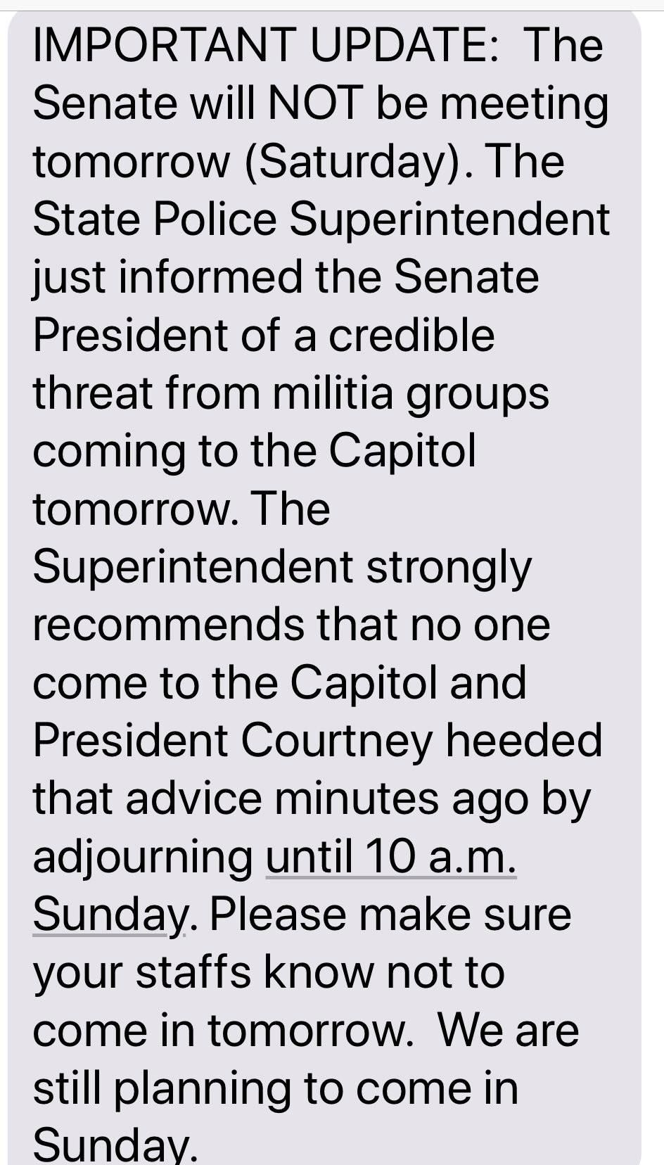 "Before deleting it, Oregon state Sen. Elizabeth Steiner Hayward attached this text message to a tweet in which she wrote: ""We had planned for floor sessions Sat & Sun in hopes @ORSenateRs would show up. Then got this text. Not only have they broken their oath of office, their member's threat of violence has instigated others to threaten us for trying to do our jobs & serve Oregonians. #orleg #orpol"" (KATU Screen Capture)"
