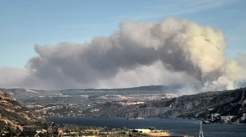 Wildfire burning near Mosier, Oregon on August 12, 2020 - KATU image.