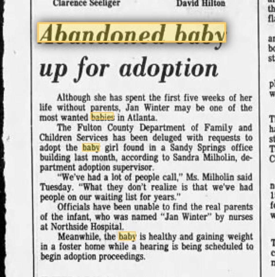 Newspaper clipping of story detailing the discovery of an abandoned child in Atlanta. (Photo courtesy Amanda Jones)