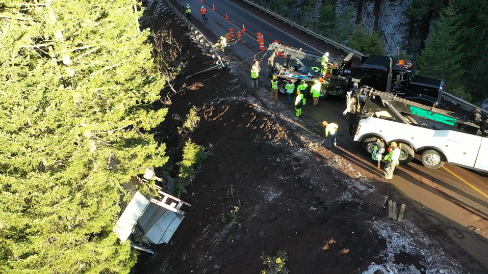 The Oregon Department of Transportation closed Highway 58 between Oakridge and Crescent Lake on Tuesday to allow tow truck companies to remove the wreckage of a semi truck that crashed amidst the winter-like weather that hit the region before Thanksgiving. (ODOT)