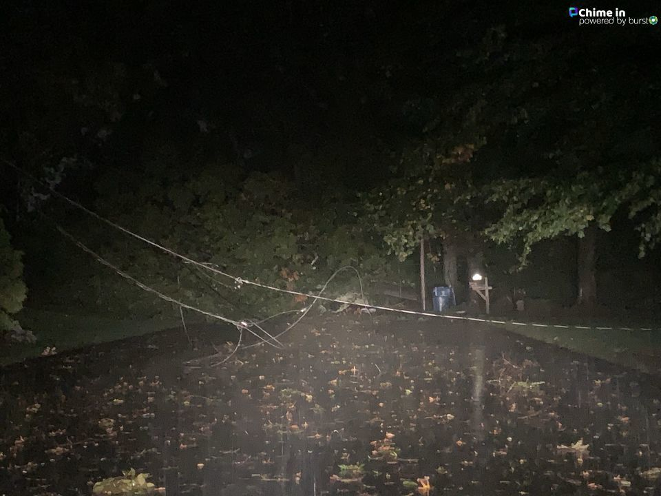 A tree and power lines came down on Chestnut Drive in East Greenwich, Oct. 17, 2019. (Maria/Chime in)