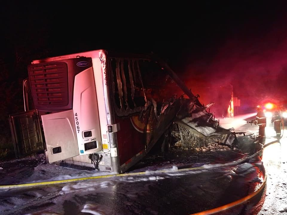 tyson foods truck carrying raw chicken catches fire on